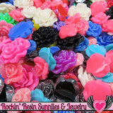 Seconds 6 pcs FAUX RHINESTONE ROSES Flatback Resin Flower Cabochons - Rockin Resin  - 3