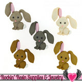Jesse James Buttons 5pc HOP HOP! Bunny Rabbit Buttons OR Turn them Into Flatback Decoden Cabochons - Rockin Resin  - 1