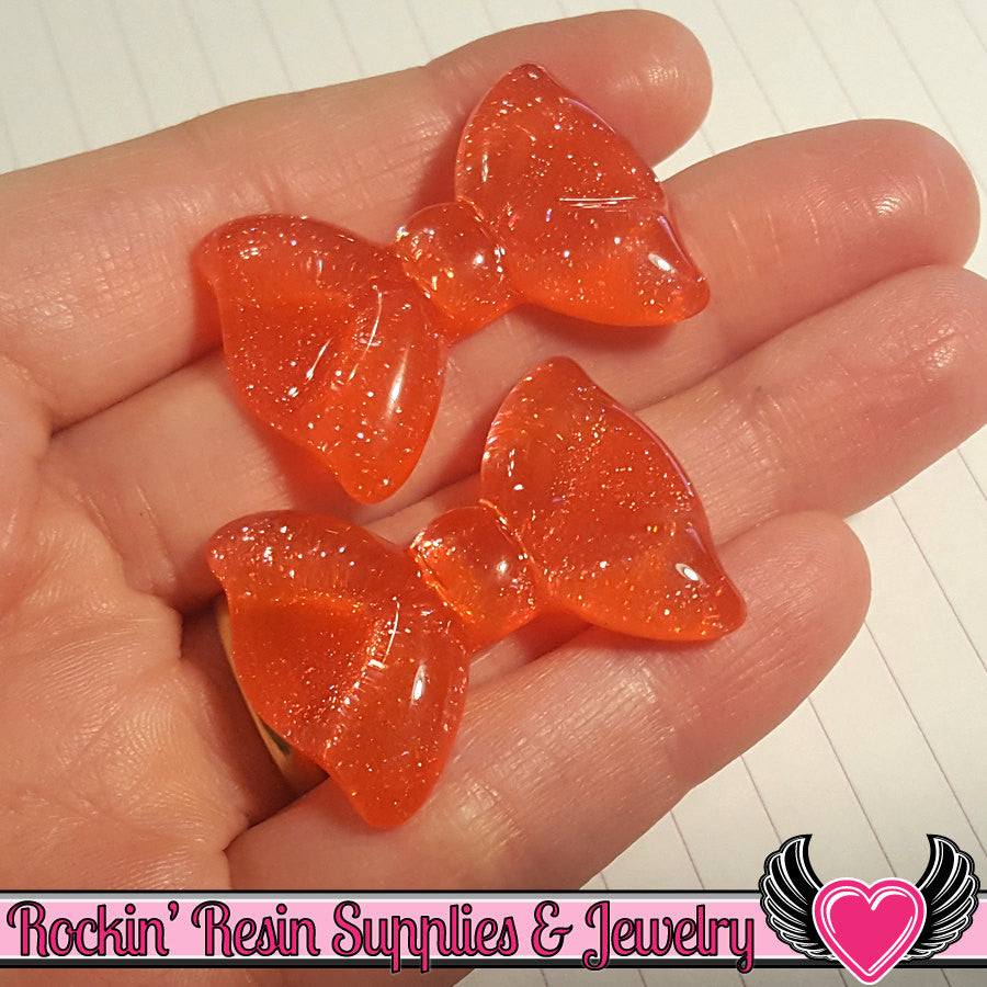 Red Glitter BOWS Decoden Flatback Kawaii Cabochons 35x28mm (5 pieces)