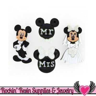 Disney MICKEY and MINNIE MOUSE Wedding Bride & Groom Buttons Or Turn them into Flatback Cabochons - Rockin Resin  - 1