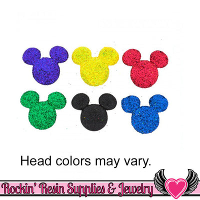 Disney GLITTER MICKEY MOUSE Head Licensed Jesse James Buttons Or Turn them into Flatback Cabochons - Rockin Resin  - 1
