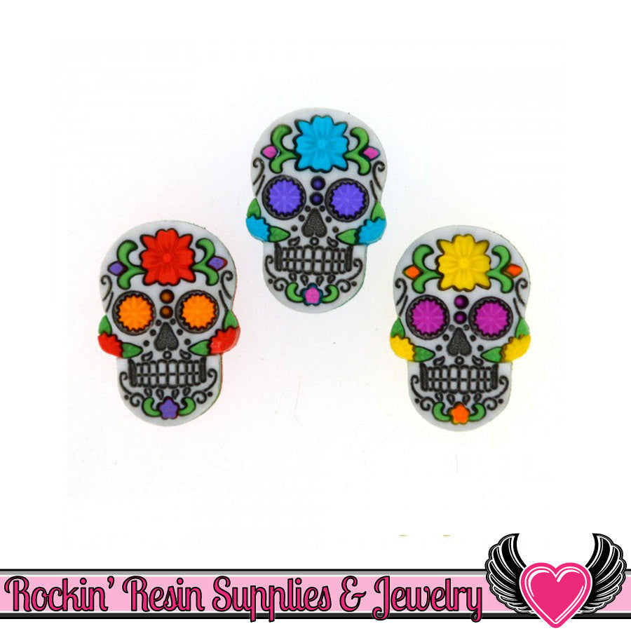 Jesse James 3 pc Halloween SUGAR SKULLS Buttons OR Turn them Into Flatback Decoden Cabochons