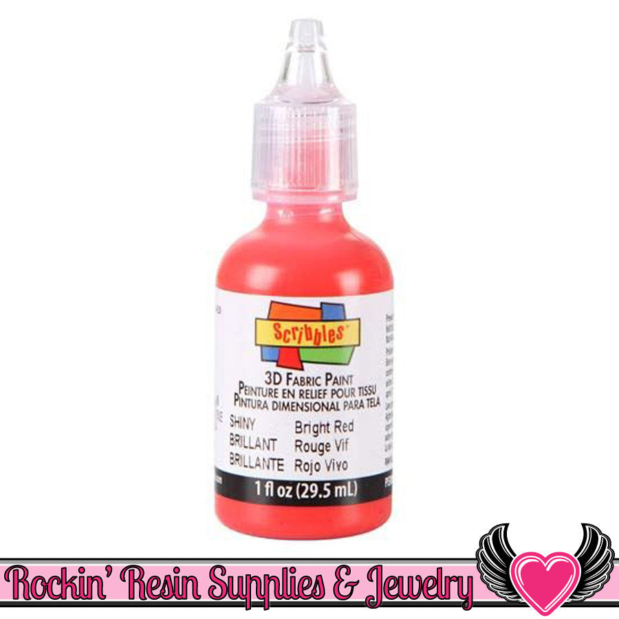 Scribbles SHINY Bright Red Deco Sauce Puffy Dimensional Craft Paint - Rockin Resin