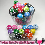 20mm Polka Dot Beads, Multi Color Mix, chunky bubblegum beads, 10 ct - Rockin Resin  - 2
