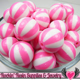 Pink BEACH BALL BEADS 20mm chunky bubblegum beads, 10 ct - Rockin Resin  - 1