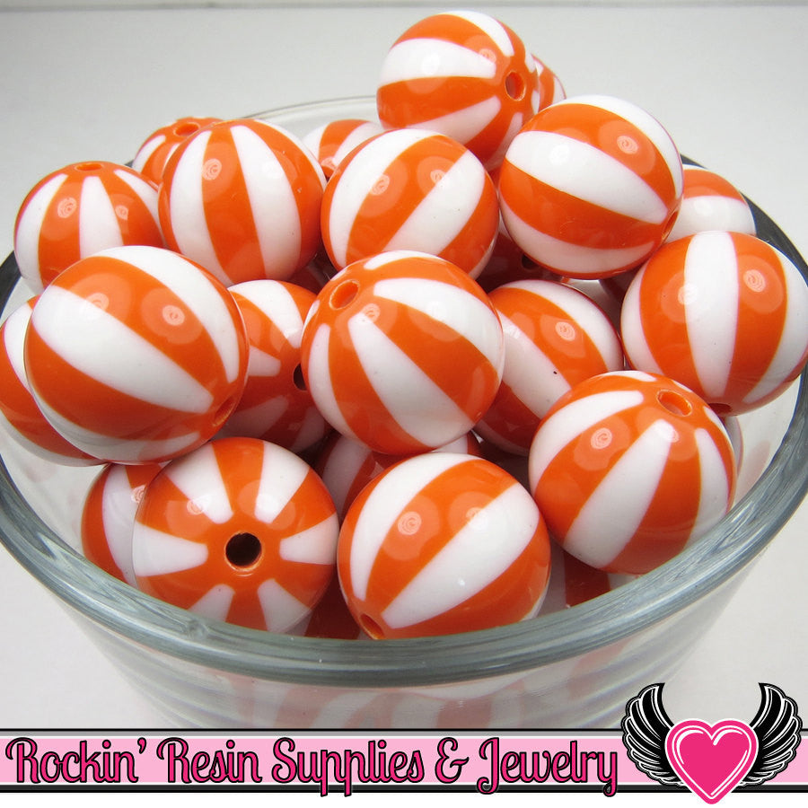 Orange BEACH BALL BEADS 20mm chunky bubblegum beads, 10 ct