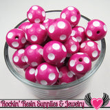 20mm POLKA DOT BEADS, Fuchsia Pink chunky bubblegum beads, 10 ct - Rockin Resin  - 4