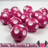 20mm POLKA DOT BEADS, Fuchsia Pink chunky bubblegum beads, 10 ct - Rockin Resin  - 2