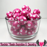 20mm POLKA DOT BEADS, Fuchsia Pink chunky bubblegum beads, 10 ct - Rockin Resin  - 3