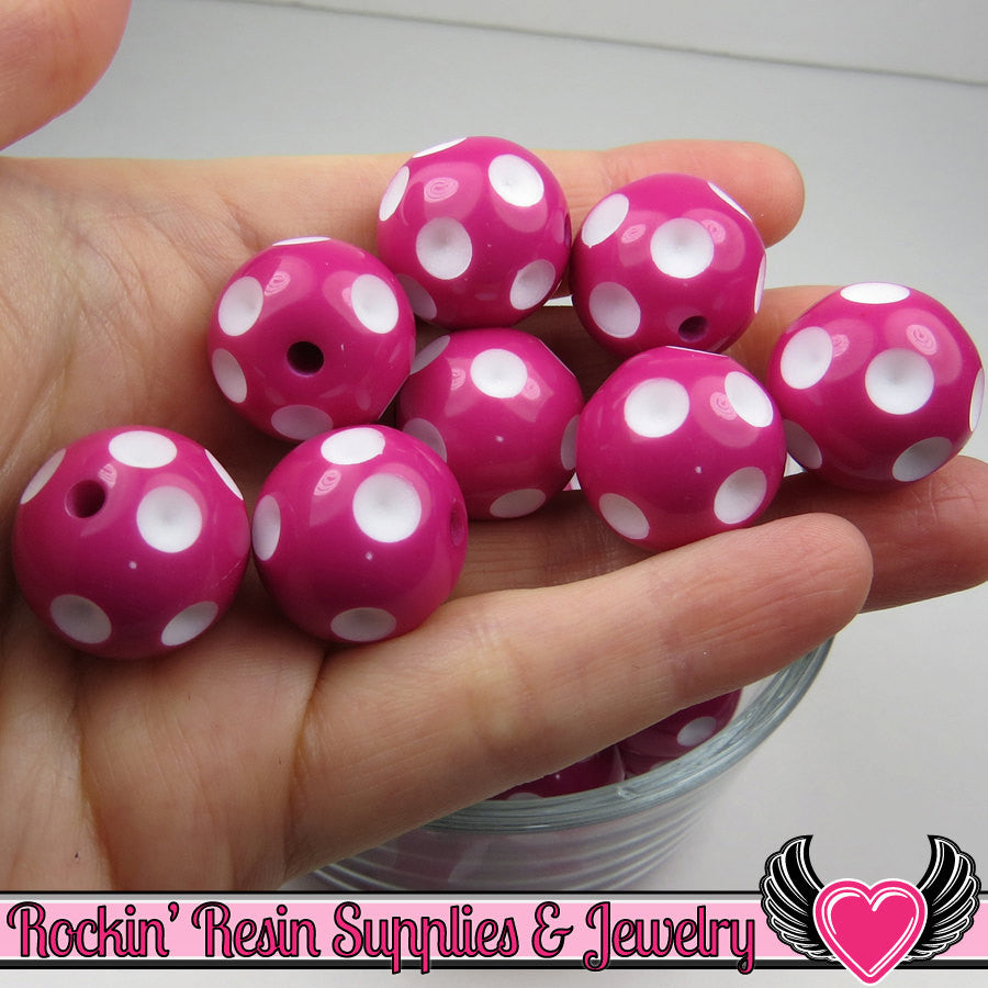 20mm POLKA DOT BEADS, Fuchsia Pink chunky bubblegum beads, 10 ct
