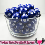 20mm POLKA DOT BEADS, Dark Blue chunky bubblegum beads, 10 ct - Rockin Resin  - 2