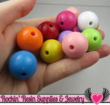 24mm GUMBALL Beads Mix (8 pieces) Solid Round Acrylic Beads - Rockin Resin  - 2