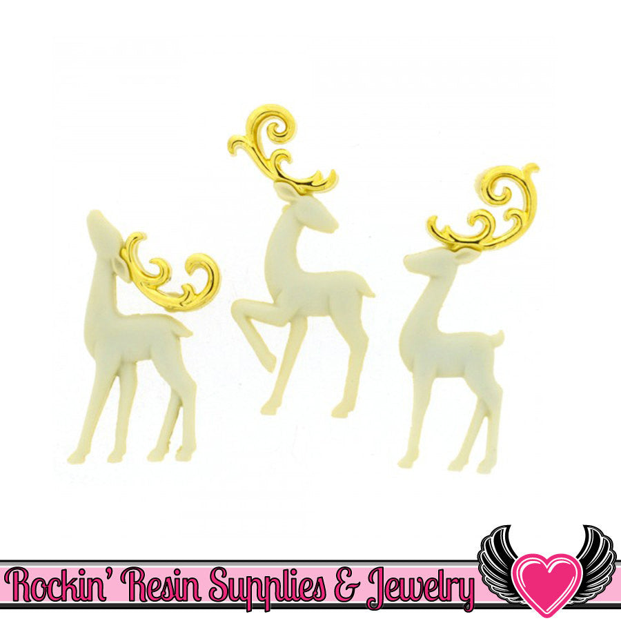 Jesse James 3pc Christmas MAJESTIC REINDEER Flatback Decoden Cabochons