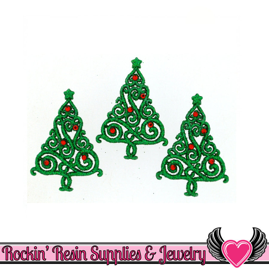 Jesse James Buttons 3pc Glitter CHRISTMAS TREE Flatback Decoden Cabochons