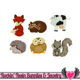 Jesse James Buttons 6 pc OUTDOOR FRIENDS Fox, Cat, Owl, Cow, Squirrel, Porcupine Buttons