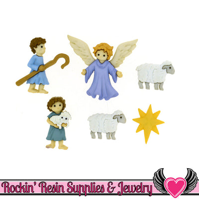 Jesse James Buttons 6pc Christmas Nativity Good Shepherd Buttons OR Turn them Into Flatback Cabochons - Rockin Resin  - 1