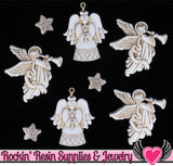 Jesse James Buttons 8pc CHRISTMAS Glitter Angels Charms & Buttons