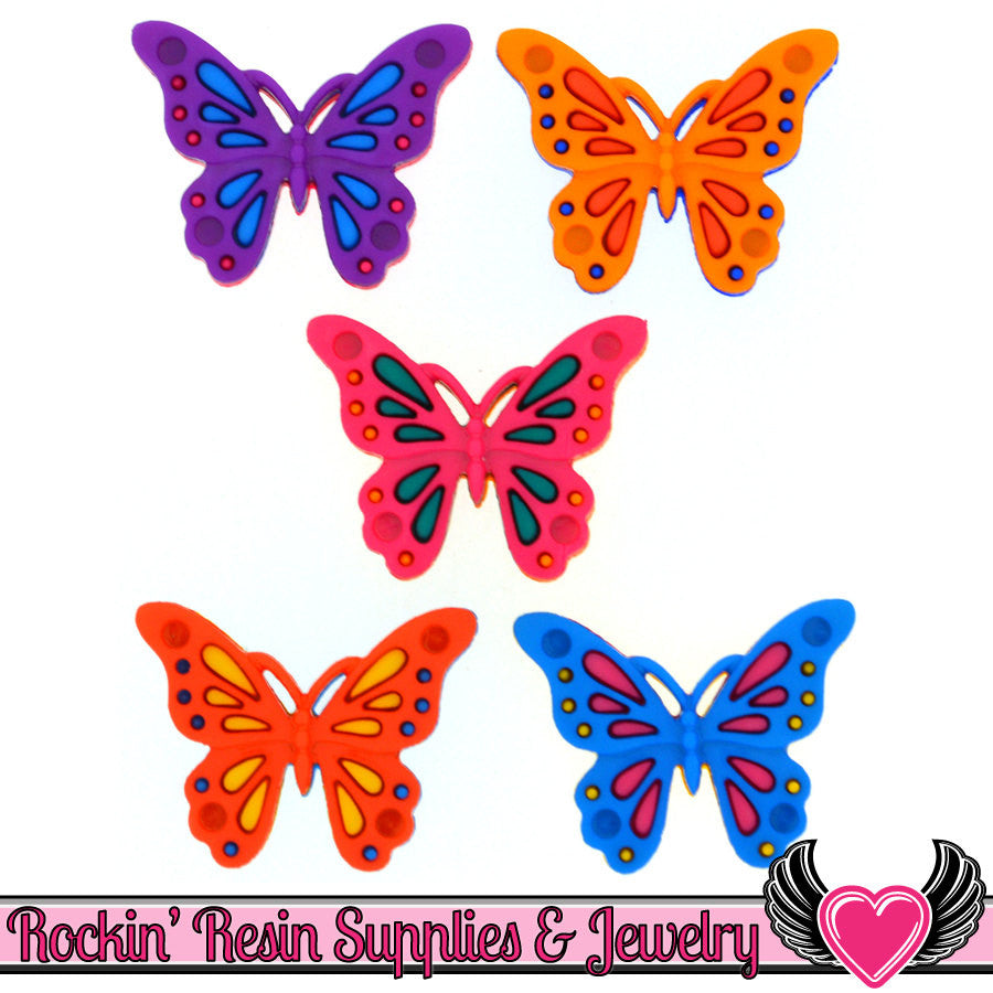 Jesse James Buttons 5 pc Butterfly Flights of Fancy Buttons OR Turn them Into Flatback Decoden Cabochons - Rockin Resin  - 1