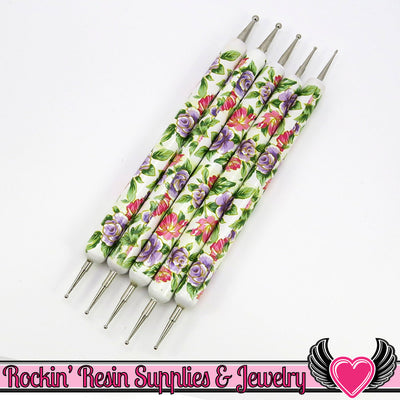 Floral Handle 5 pc 2 Sided NAIL ArT DOTTiNG TOOL Modeling, Painting, Miniature, and Sculpting Polymer Clay - Rockin Resin  - 1