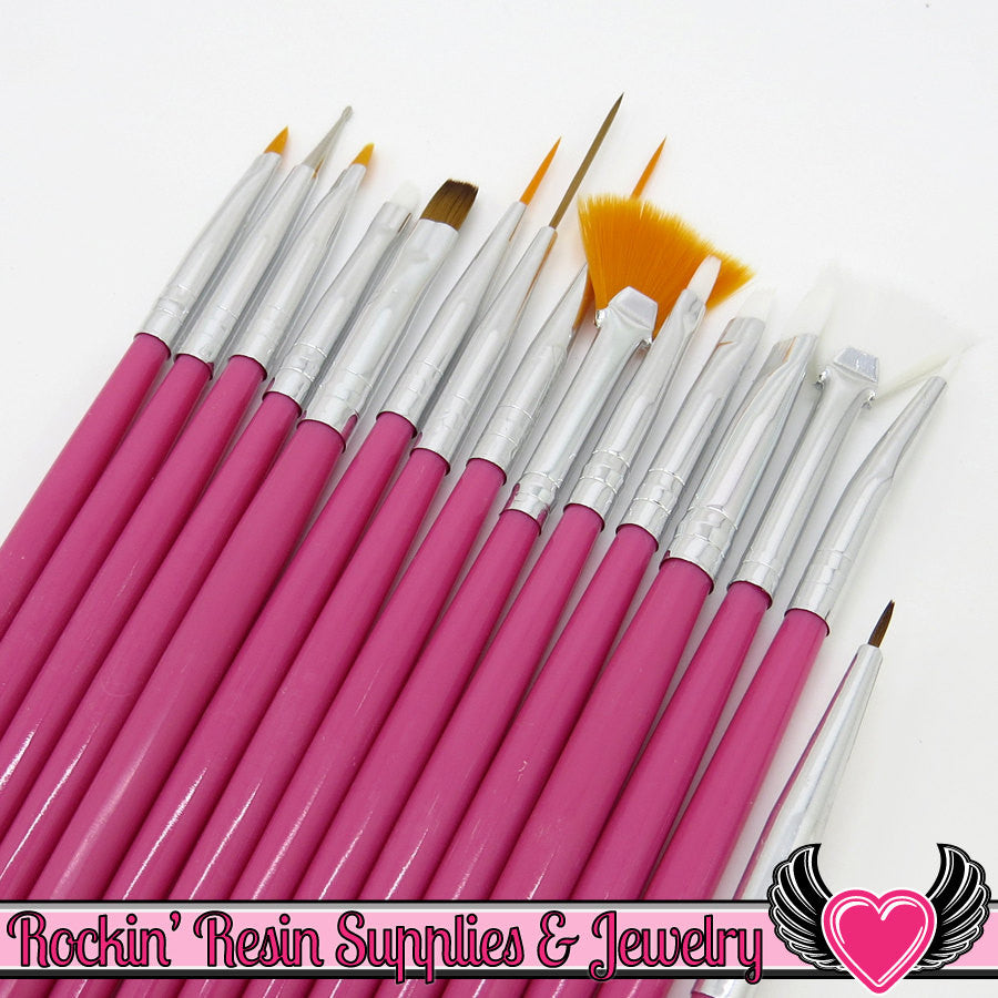 15 pcs NAIL ArT BRUSHES / Nail Polish Manicure Tools / Dotting Painting Liners Drawing and Fan Brushes, Pink Handle