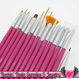 15 pcs NAIL ArT BRUSHES / Nail Polish Manicure Tools / Dotting Painting Liners Drawing and Fan Brushes, Pink Handle - Rockin Resin  - 1