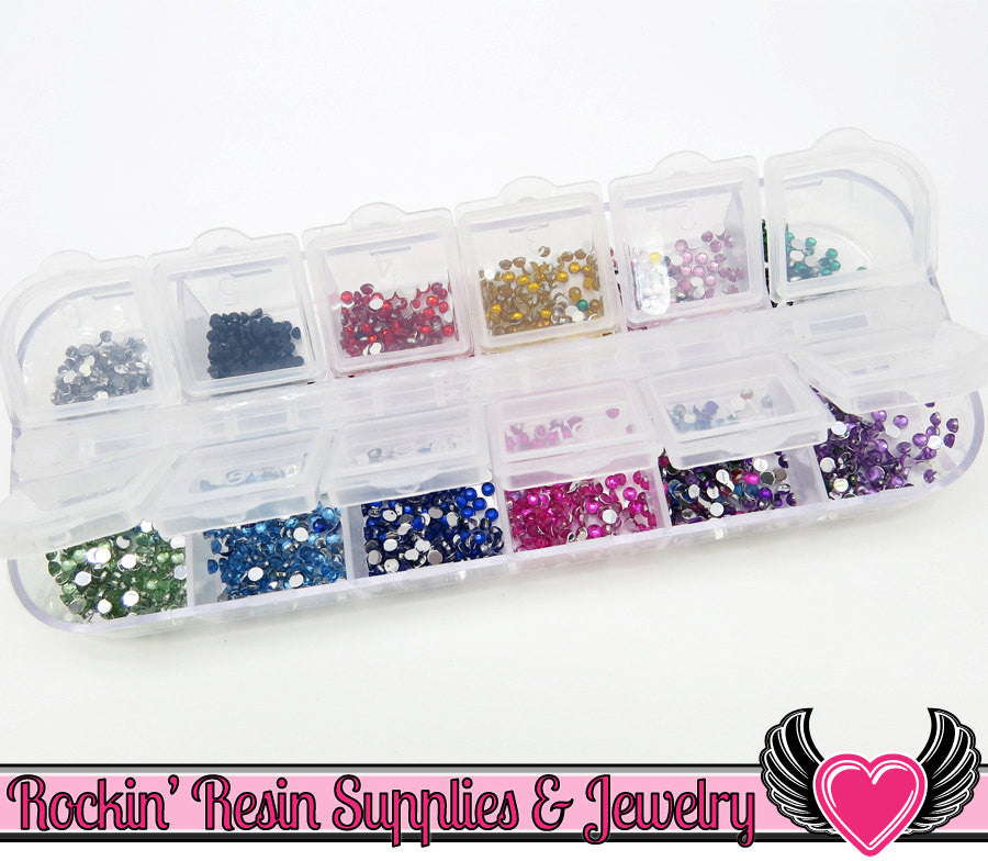 2mm RHINESTONES Set Nail Art Rhinestones, 12 Colors & Plastic Case