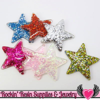 GLITTER STARS 7 pc Flatback Decoden Resin Kawaii Cabochons - Rockin Resin  - 1