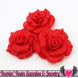 42mm Red Polymer Clay Rose Flatback Cabochons ( 3 pieces ) - Rockin Resin  - 2