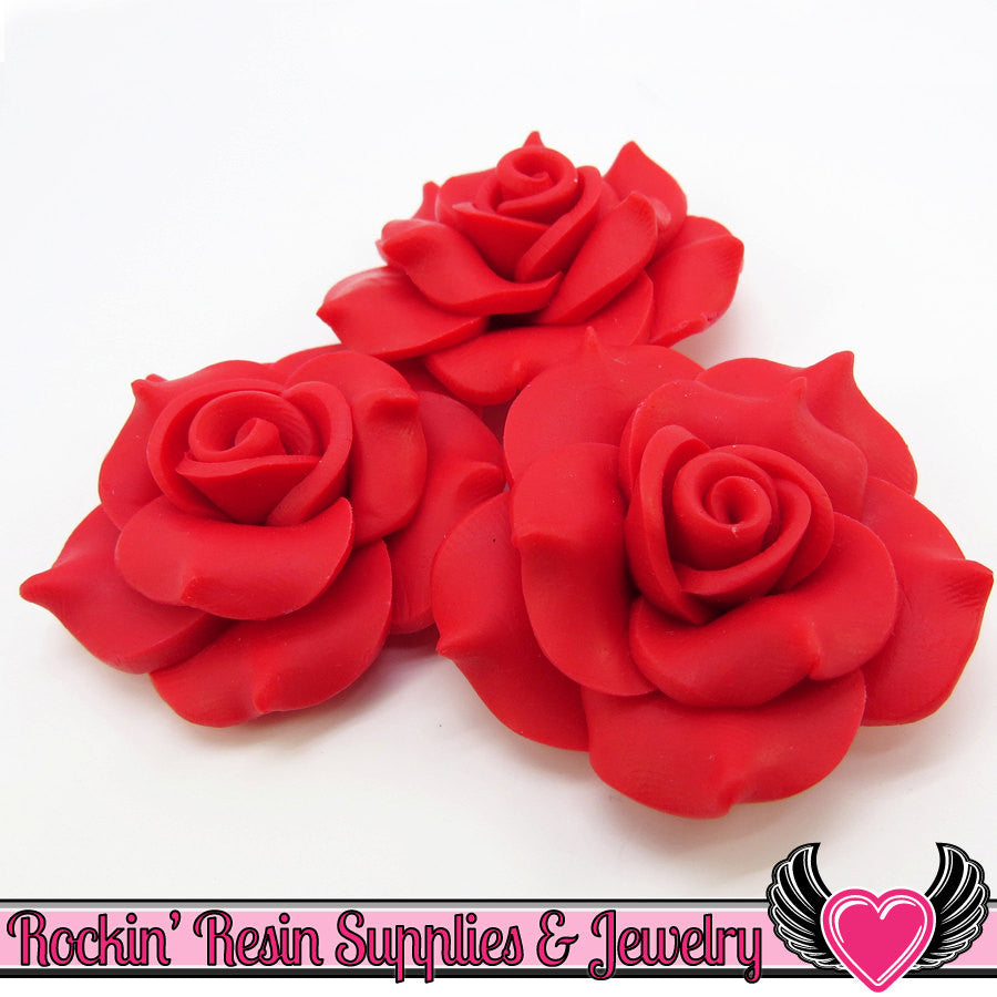 42mm Red Polymer Clay Rose Flatback Cabochons ( 3 pieces ) - Rockin Resin  - 1