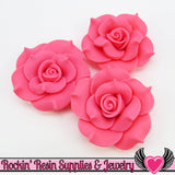 42mm Pink Polymer Clay Rose Flatback Cabochons ( 3 pieces ) - Rockin Resin  - 1