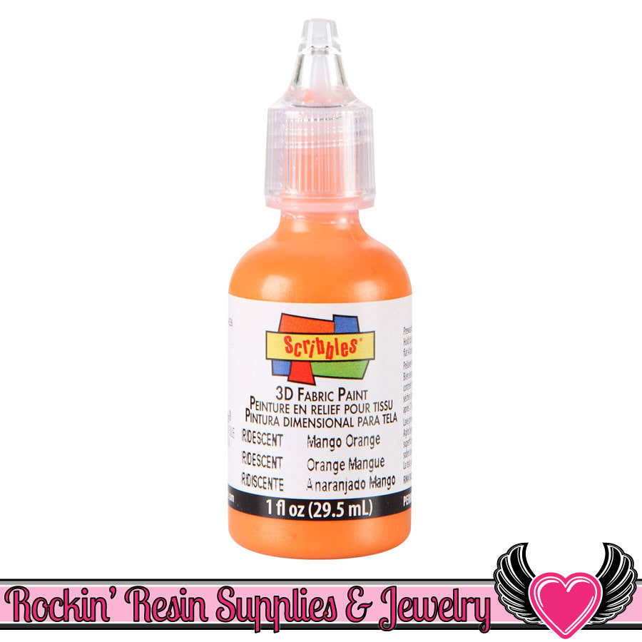 Scribbles IRIDESCENT MANGO ORANGE Deco Sauce Puffy Dimensional Craft Paint - Rockin Resin