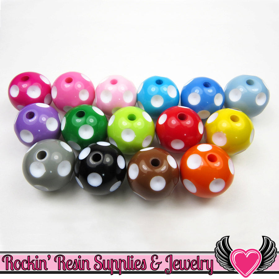 20mm Polka Dot Beads, Multi Color Mix, chunky bubblegum beads, 10 ct - Rockin Resin  - 1