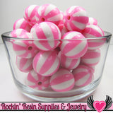 Pink BEACH BALL BEADS 20mm chunky bubblegum beads, 10 ct - Rockin Resin  - 3
