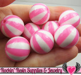 Pink BEACH BALL BEADS 20mm chunky bubblegum beads, 10 ct - Rockin Resin  - 2