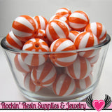 Orange BEACH BALL BEADS 20mm chunky bubblegum beads, 10 ct - Rockin Resin  - 2