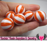 Orange BEACH BALL BEADS 20mm chunky bubblegum beads, 10 ct - Rockin Resin  - 3