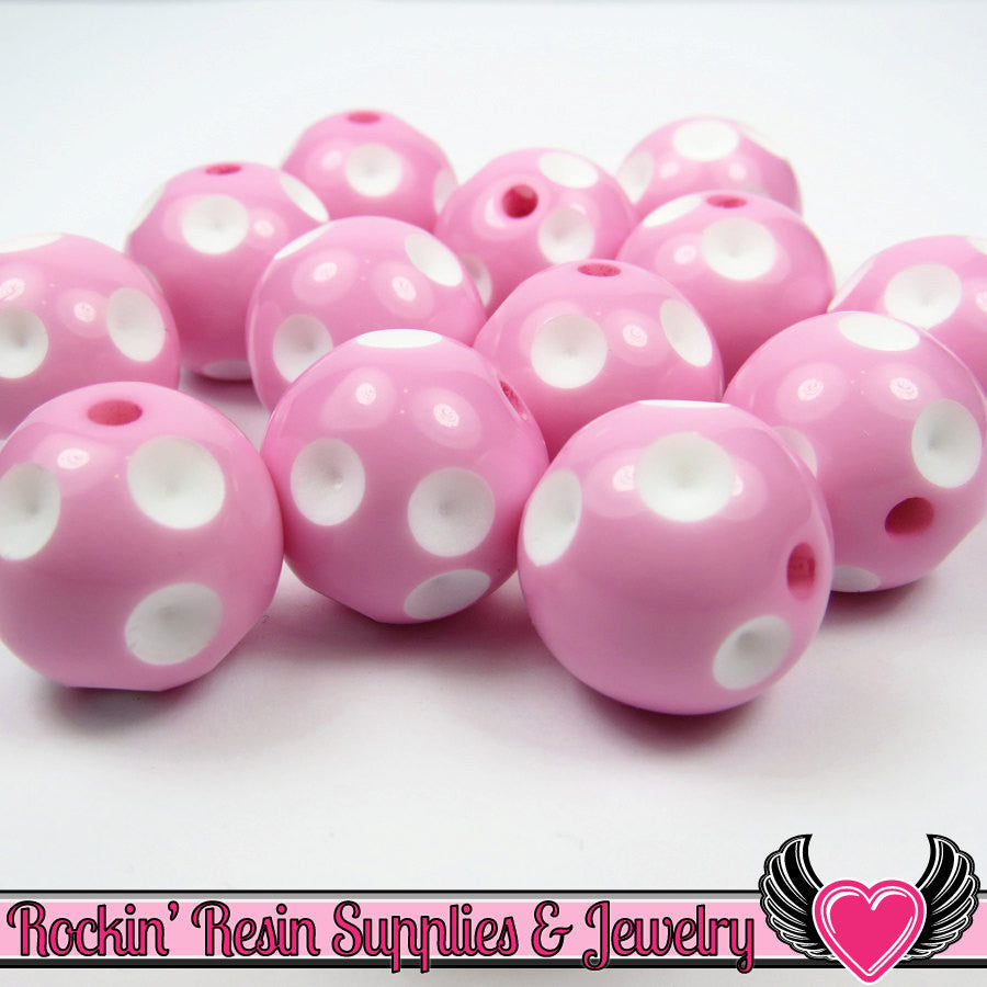 20mm POLKA DOT BEADS, Pink chunky bubblegum beads, 10 ct