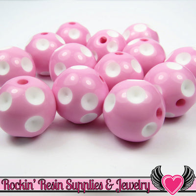 20mm POLKA DOT BEADS, Pink chunky bubblegum beads, 10 ct - Rockin Resin  - 1