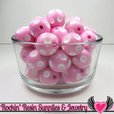 20mm POLKA DOT BEADS, Pink chunky bubblegum beads, 10 ct - Rockin Resin  - 2