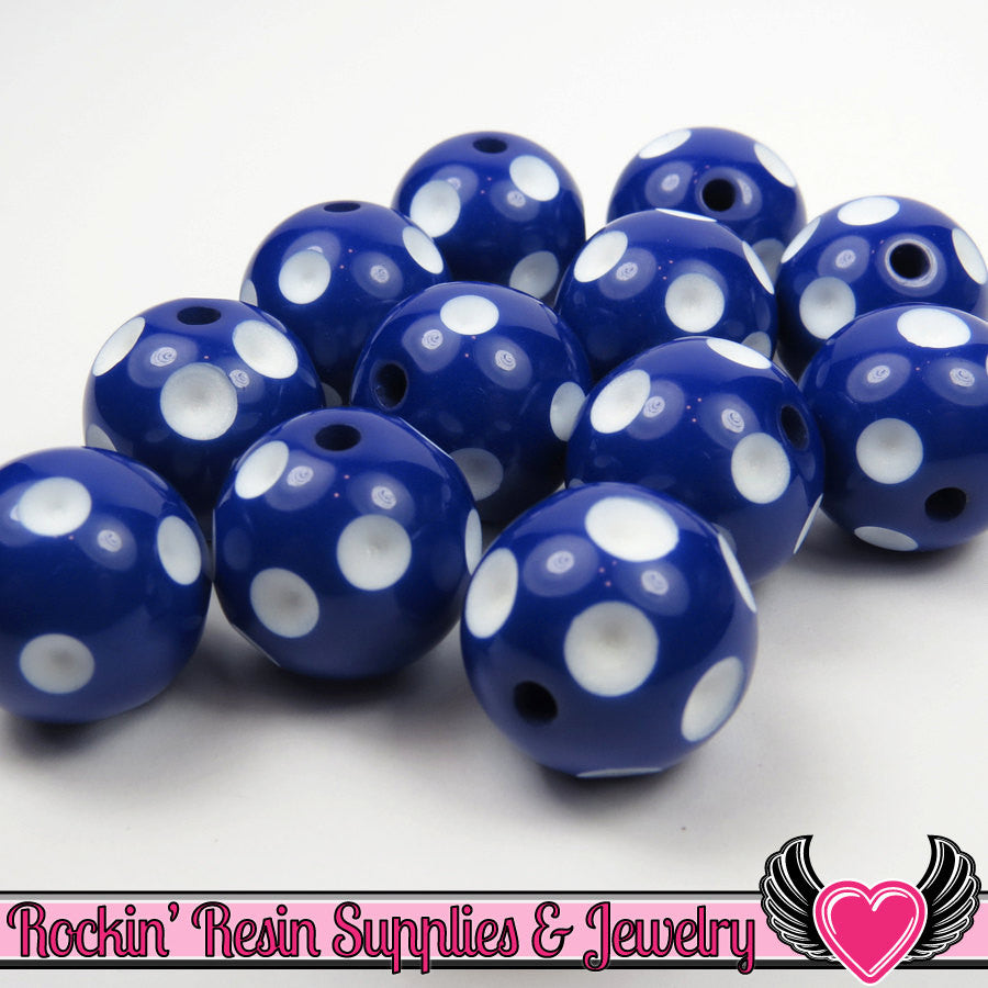 20mm POLKA DOT BEADS, Dark Blue chunky bubblegum beads, 10 ct