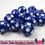 20mm POLKA DOT BEADS, Dark Blue chunky bubblegum beads, 10 ct - Rockin Resin  - 1