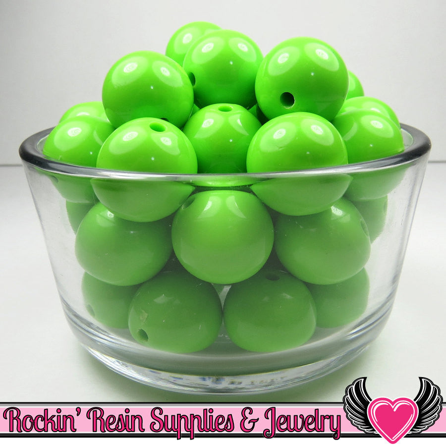 20mm Pea GREEN GUMBALL Beads (10 pieces) Round Chunky Beads