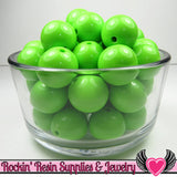 20mm Pea GREEN GUMBALL Beads (10 pieces) Round Chunky Beads - Rockin Resin  - 1