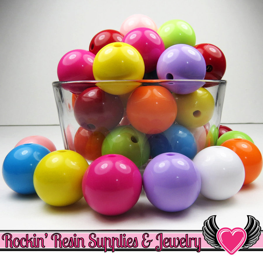 24mm GUMBALL Beads Mix (8 pieces) Solid Round Acrylic Beads