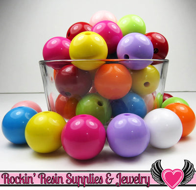 24mm GUMBALL Beads Mix (8 pieces) Solid Round Acrylic Beads - Rockin Resin  - 1