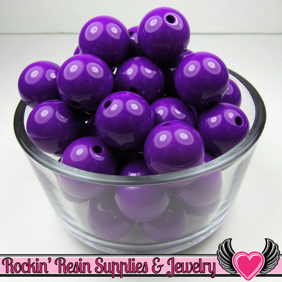 20mm Deep Purple GUMBALL Beads 10 pieces Round Acrylic Beads