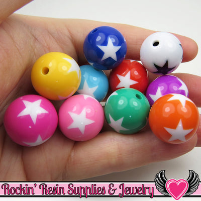 20mm STAR BEADS, Multi color mix chunky bubblegum beads, 10 ct - Rockin Resin  - 1
