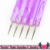 Purple Swirl 5 pc 2 Sided NAIL ArT DOTTiNG TOOL Modeling, Painting, Miniature, and Sculpting Polymer Clay - Rockin Resin  - 2