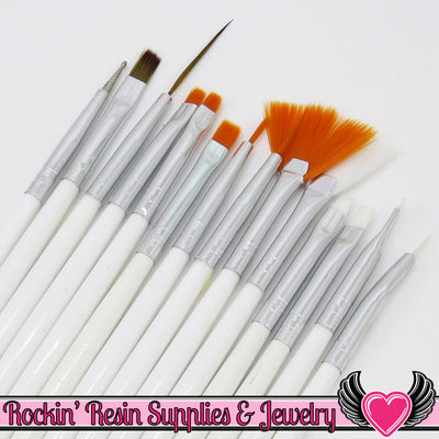 15 pcs NAIL ArT BRUSHES / Nail Polish Manicure Tools / Dotting Painting Liners Drawing and Fan Brushes, White Handle - Rockin Resin  - 1