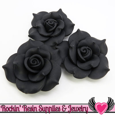 42mm Black Polymer Clay Rose Flatback Cabochons ( 3 pieces ) - Rockin Resin  - 1